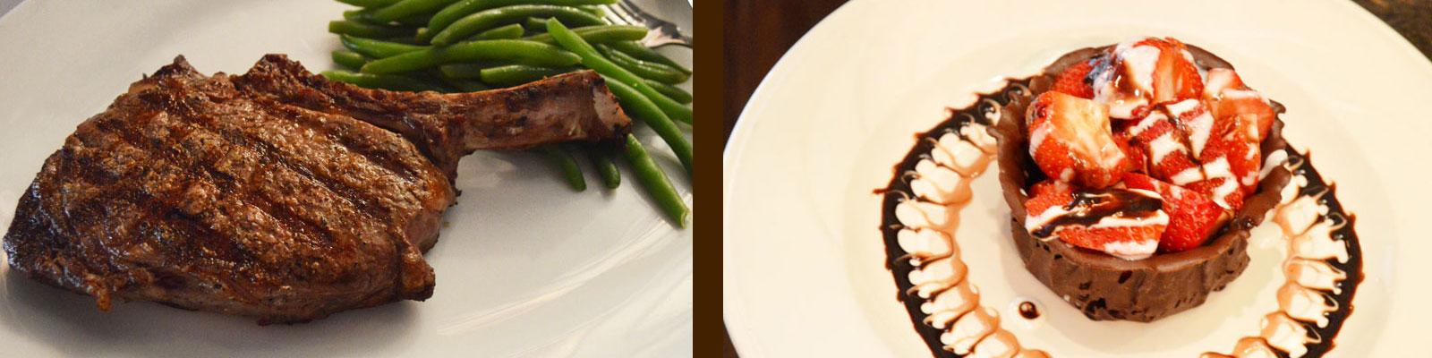 steak and chocolate dessert