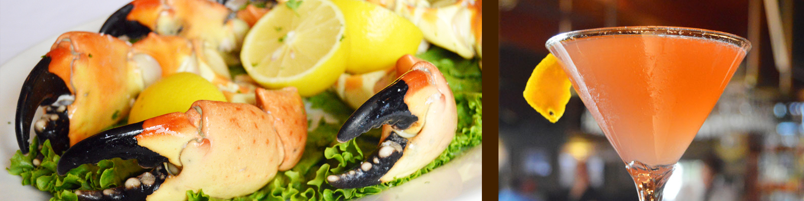 stone crab claws and martini