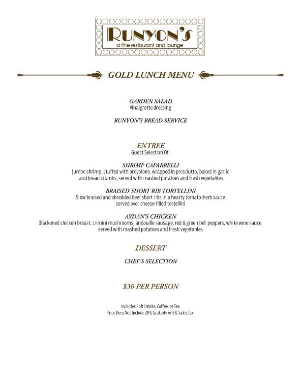 gold lunch menu