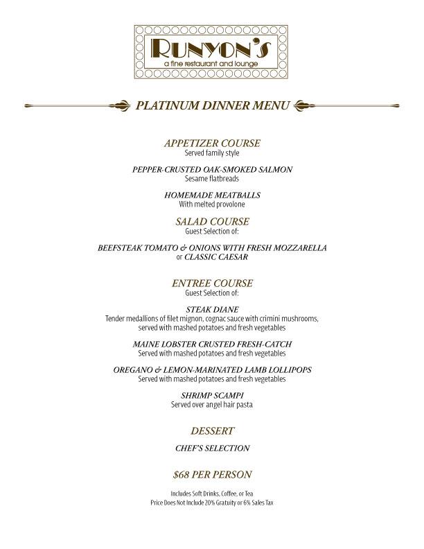 platinum dinner menu