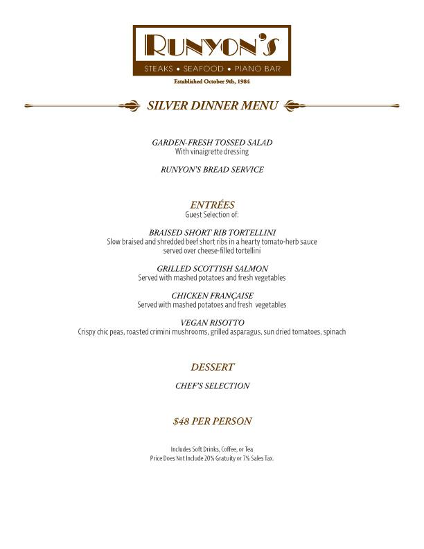 events silver dinner menu