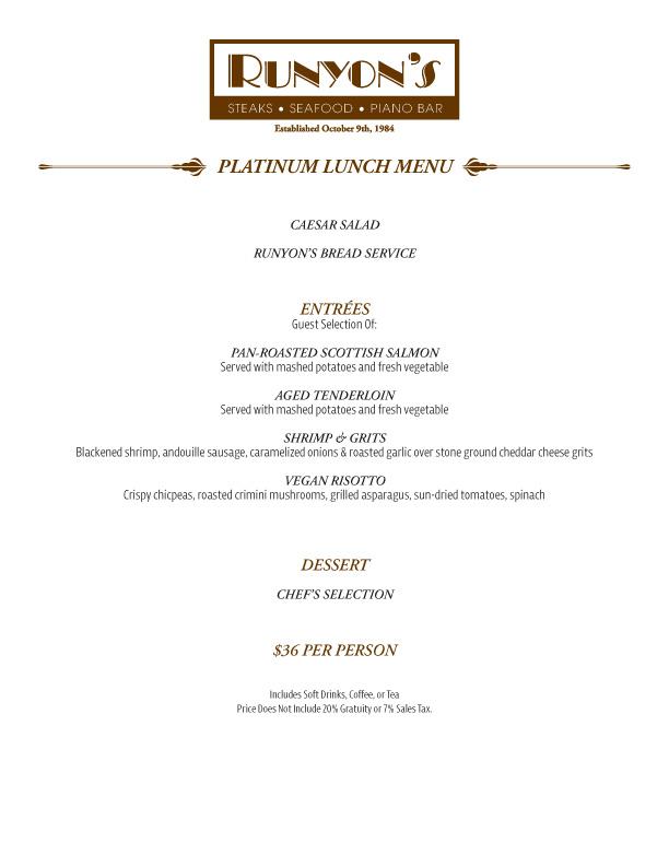 events platinum lunch menu